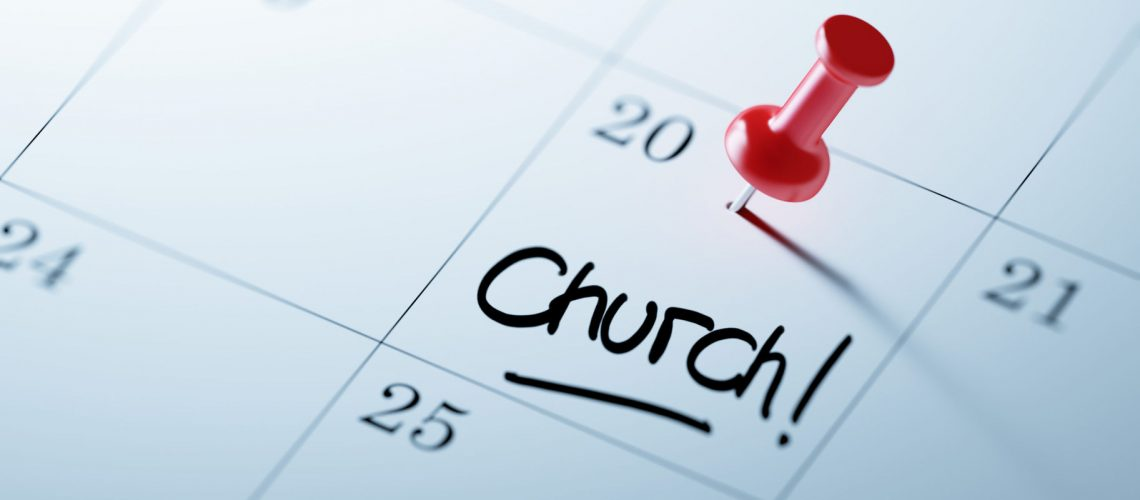 53985974 - concept image of a calendar with a red push pin. closeup shot of a thumbtack attached. the words church written on a white notebook to remind you an important appointment.